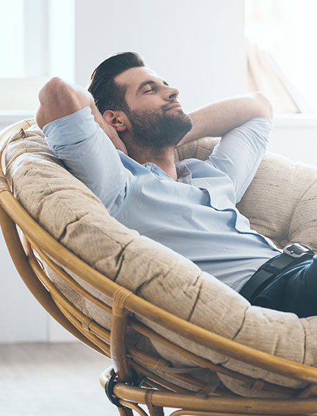 a young man relaxing